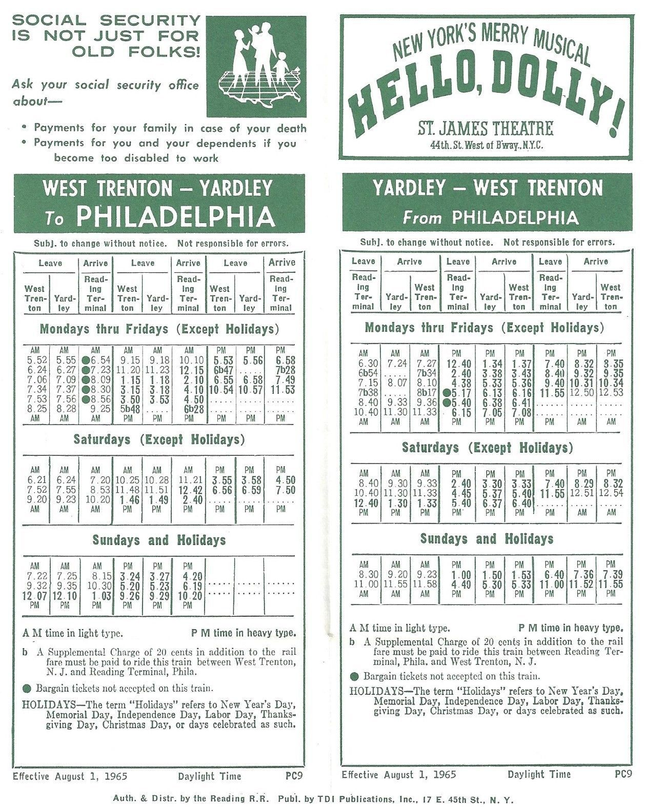 hello, dolly! ad reading railway timetable for the west trenton to