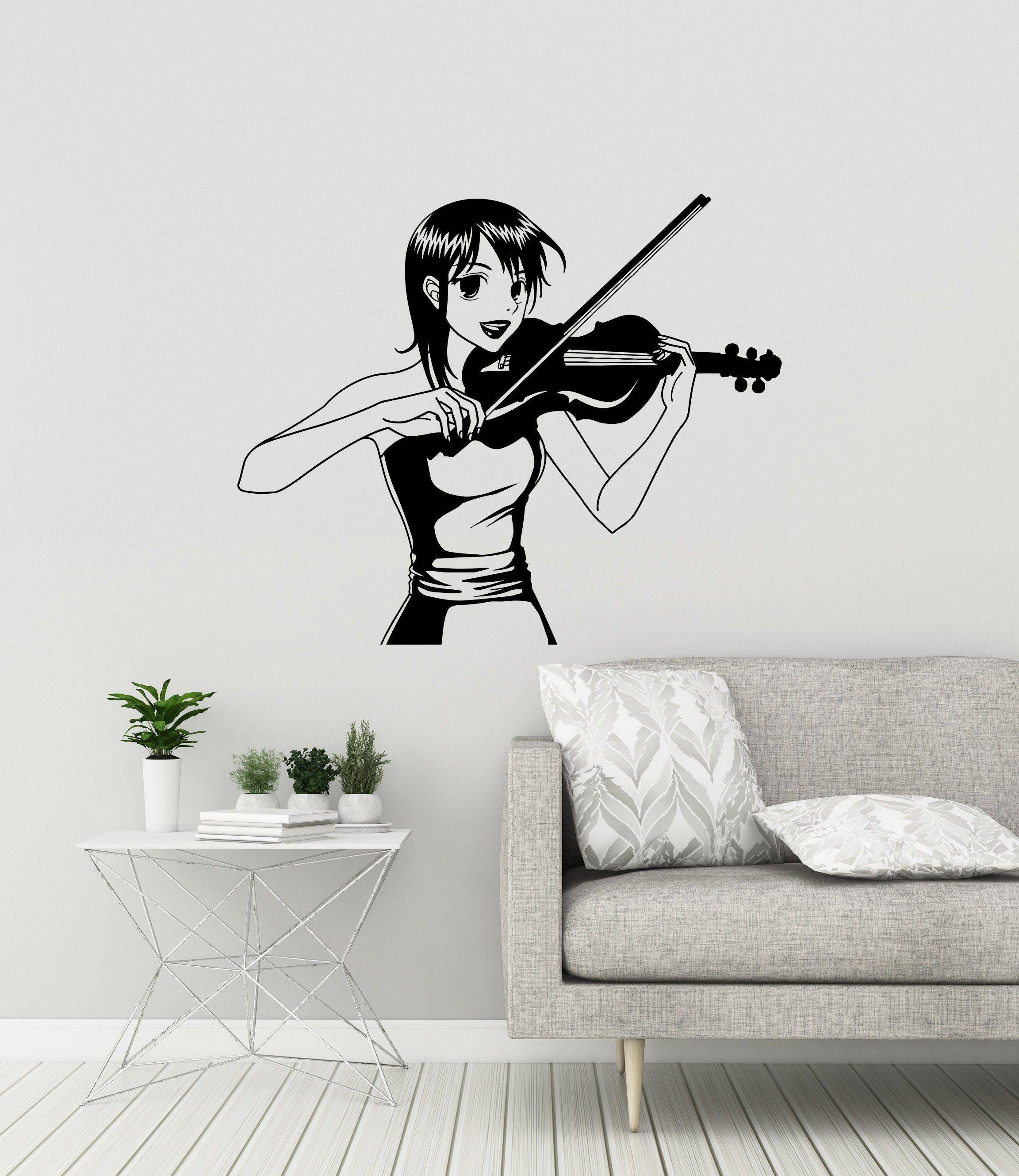 Vinyl Wall Decal Anime Manga Girl Violin Player Music