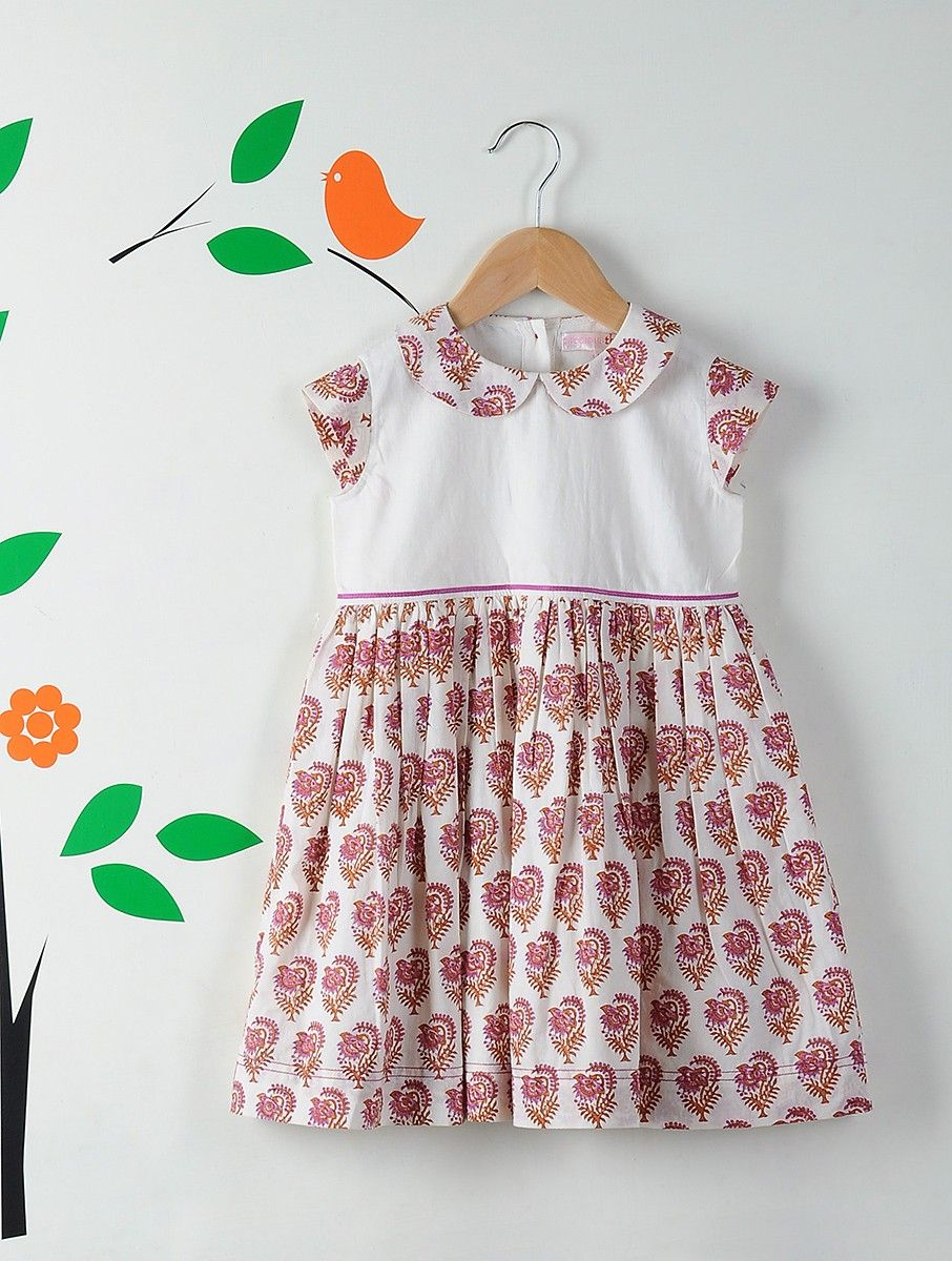 f5dfbe18fc5a4 Buy White Pink Peter Pan Collar Block Printed Cotton Dress Kids Dresses/Jumpsuits  Online at Jaypore.com