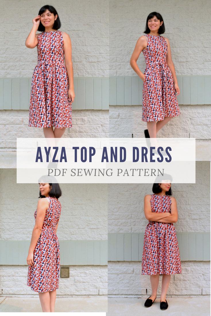 The Ayza Top and Dress PDF sewing pattern | Sewing | Pinterest | Pdf ...