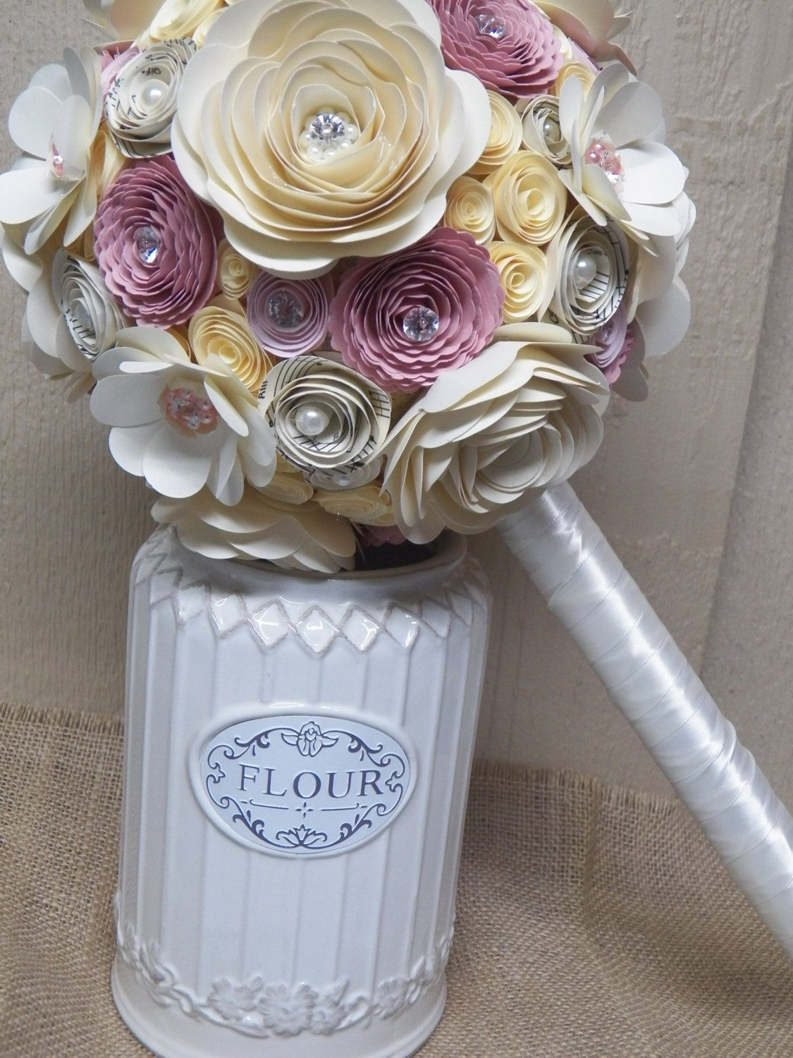Ivory paper flower wedding bouquet with vintage pink nude pink ivory paper flower wedding bouquet with vintage pink nude pink music note flowers pearls and crystals ready to ship 10500 via etsy mightylinksfo