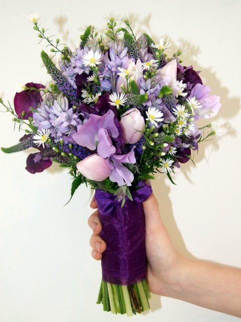 Mixed Flowers Wedding Bouquets Purple And Mountainy