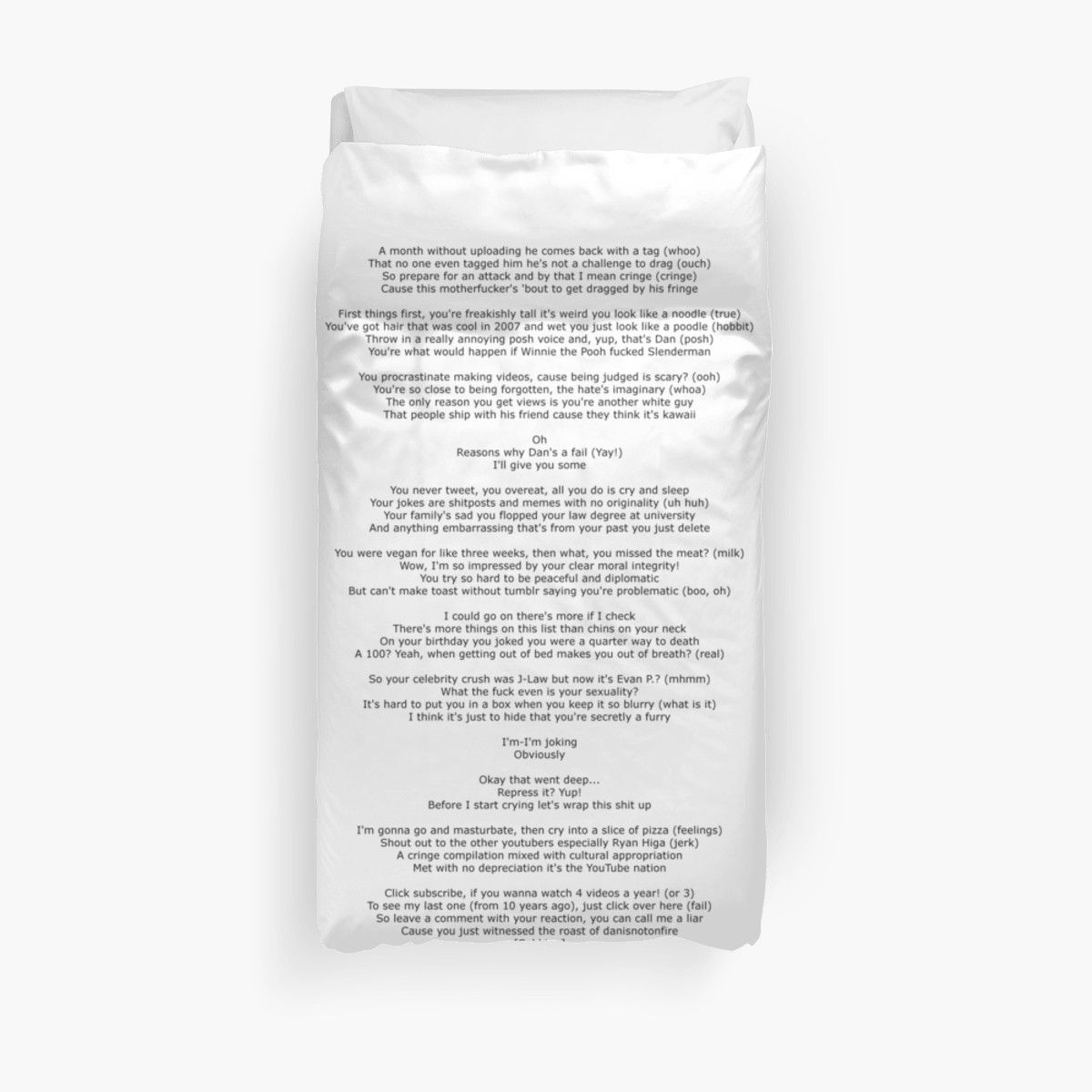 Dan's Diss Track | Duvet Cover | Products | Duvet covers