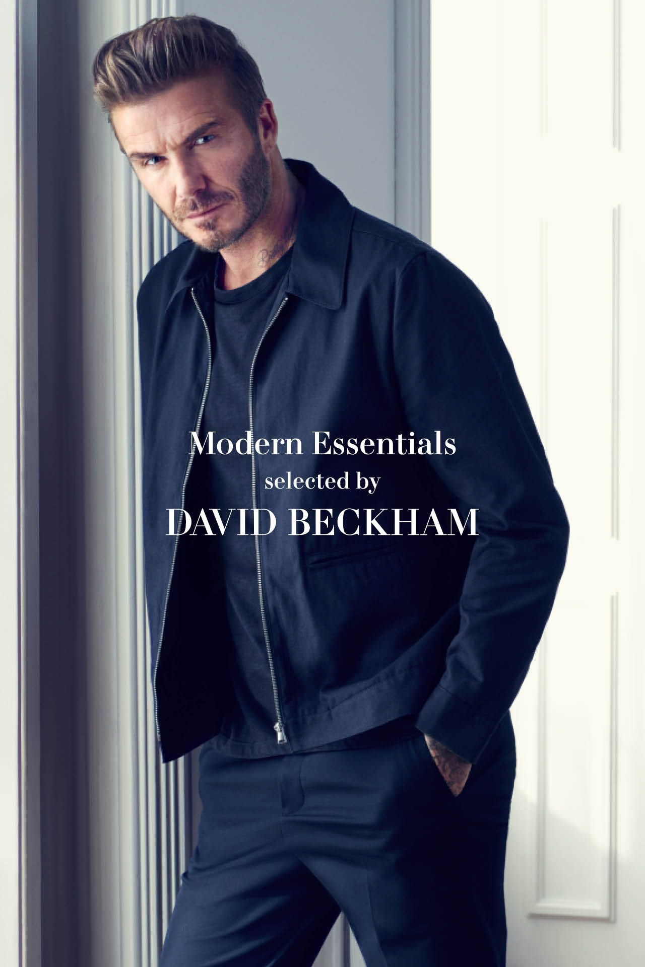 f8398b4fb6 This navy blue Harrington Jacket is the perfect lightweight piece for  Spring. See the rest of H M s Modern Essentials Collection Selected By  Beckham ...