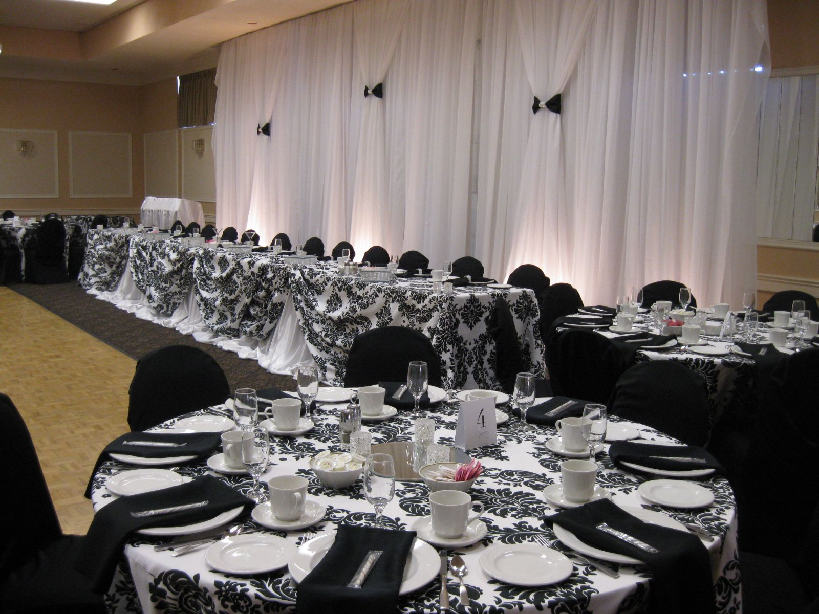 Black And White Wedding Reception Decor With Headtable And Backdrop