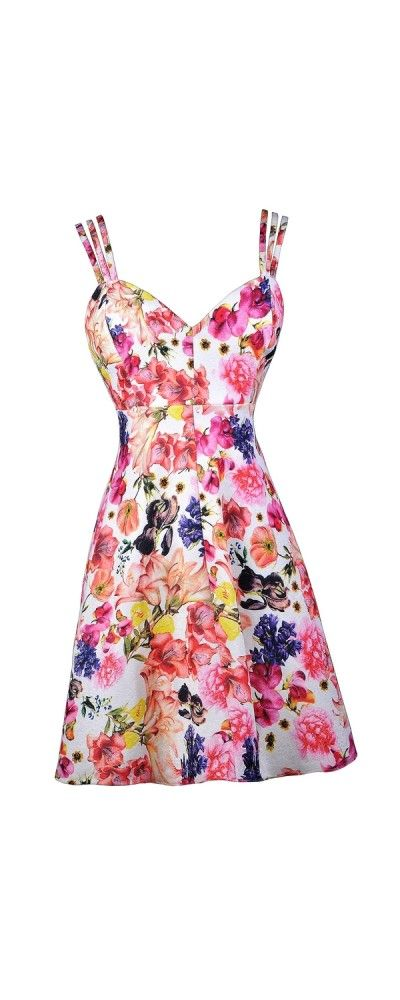1ece1899266 Lily Boutique Basket of Flowers Printed Triple Strap Dress