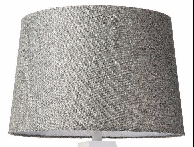"LARGE 16"" DRUM LINEN WEAVE LAMP SHADE - GRAY  NEW IN PLASTIC"