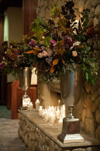 On Either Side Of The Fireplace There Will Be Two Tall Gold Vases Filled With Large Sprays Of Tall Vase Arrangements Wedding Reception Flowers Tall Gold Vases