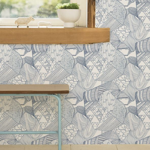 topo azul decorative wall paper. handmade pattern in a beautiful blue and white.