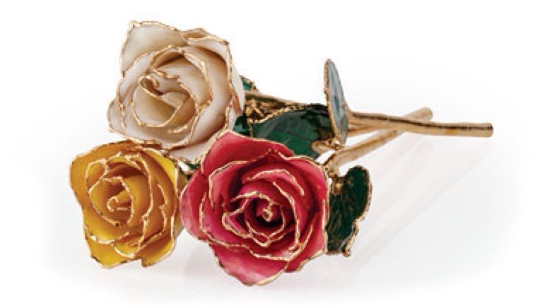 Set Of 3 24k Gold Dipped Roses Real Long Stem Roses Many Colors 12 Gift Box Gold Dipped Rose Rose Gold For Sale