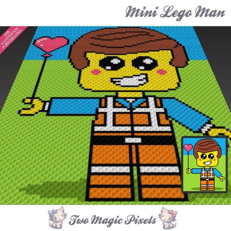 Mini Lego Man C2C Crochet Graph | Para bebes, Manta y Bebe