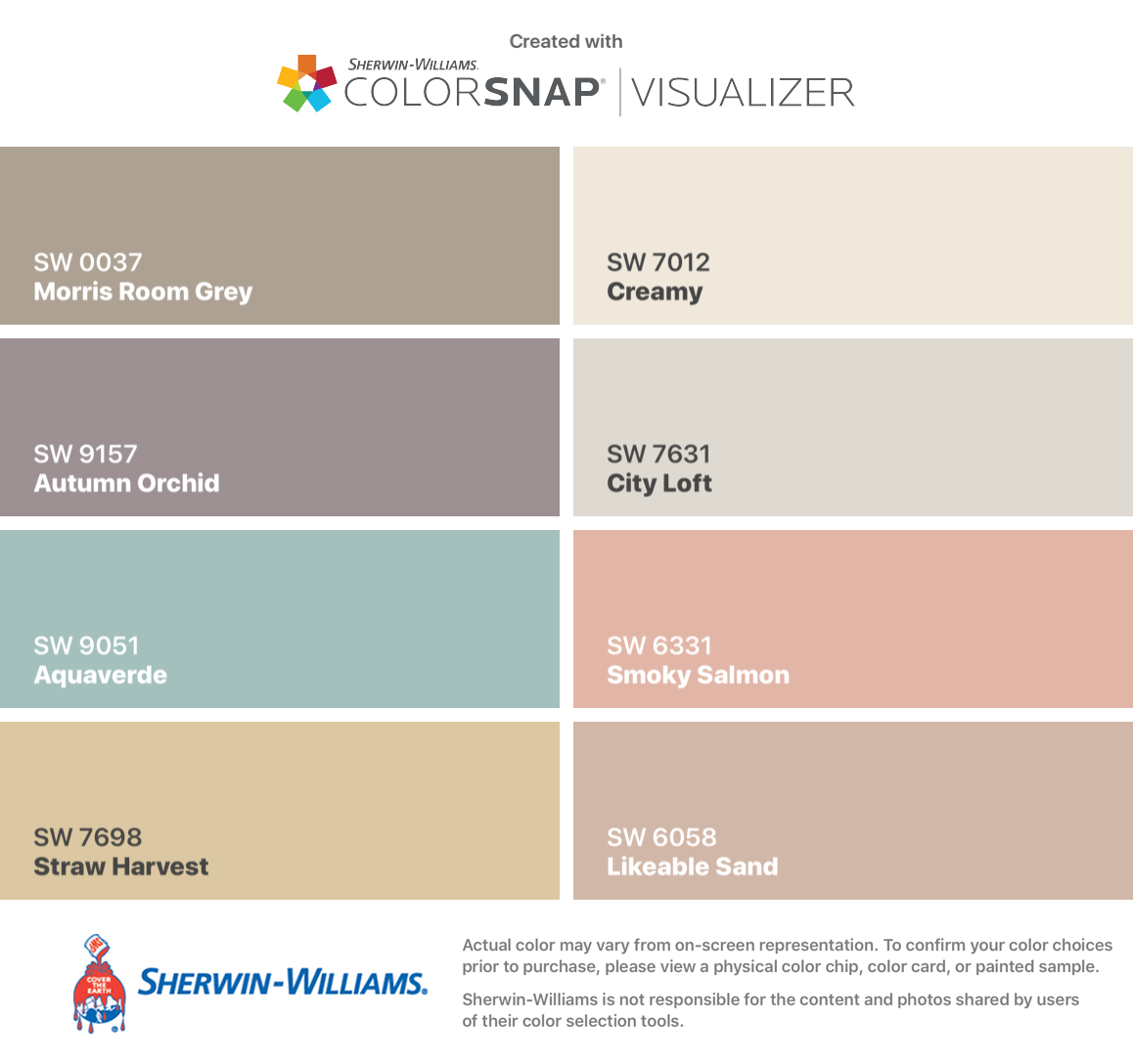 I found these colors with ColorSnap® Visualizer for iPhone by Sherwin-Williams: Morris Room Grey (SW 0037), Autumn Orchid (SW 9157), Aquaverde (SW 9051), Straw Harvest (SW 7698), Creamy (SW 7012), City Loft (SW 7631), Smoky Salmon (SW 6331), Likeable Sand (SW 6058). #cityloftsherwinwilliams