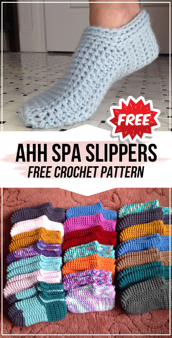 crochet Ahh Spa Slippers free pattern #crochethooks