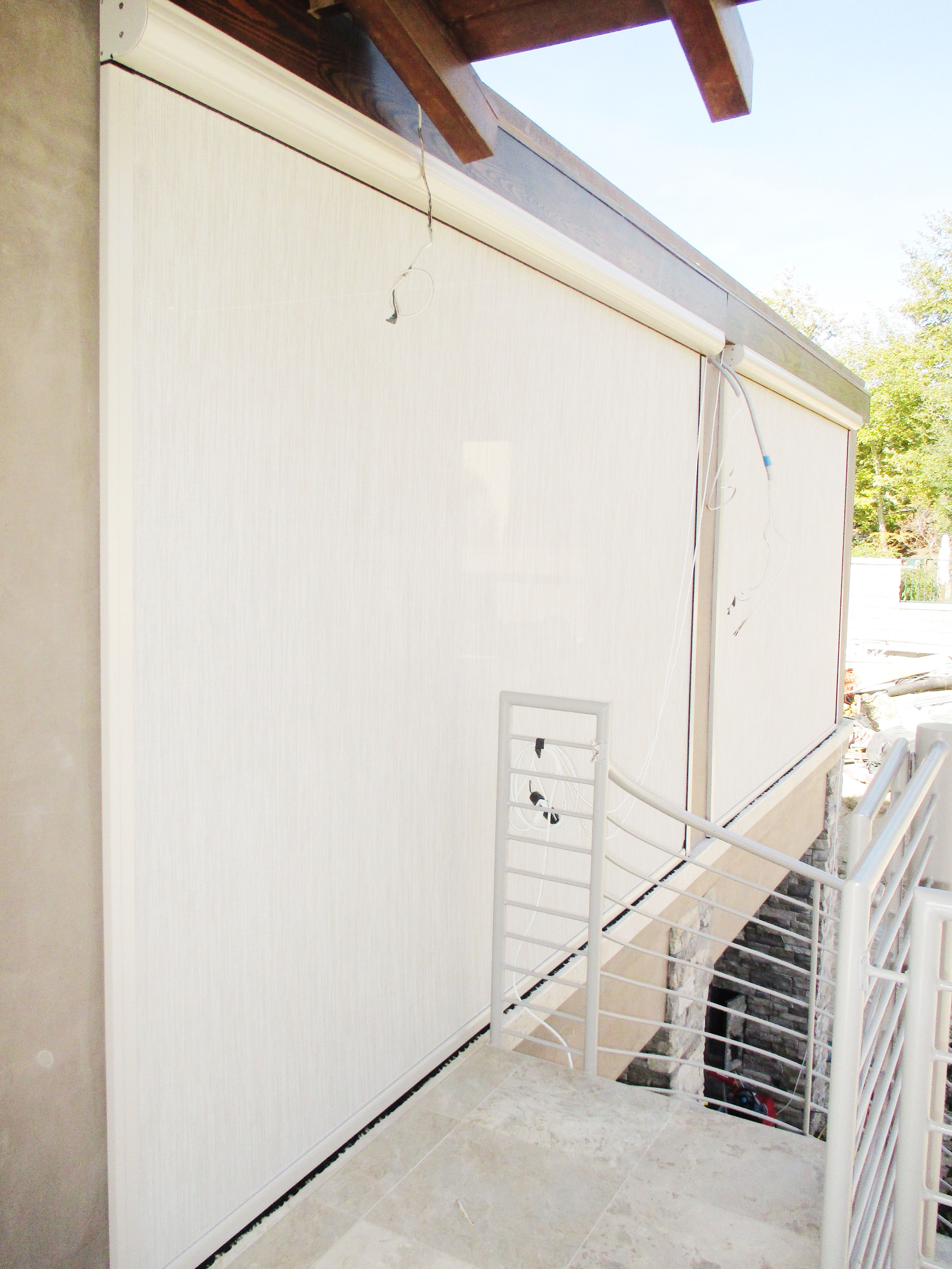 Check Out This Motorized Power Screen With Desert Sand Colored Frame And 80 Solar Screen Installed In Solar Screens Retractable Screen Door Shutters Exterior