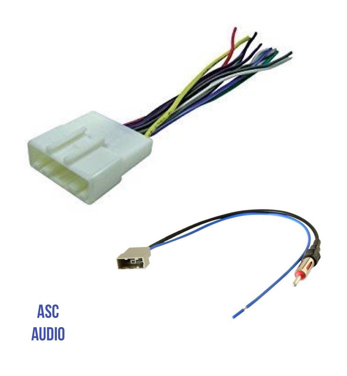ASC Audio Car Stereo Radio Wire Harness and Antenna