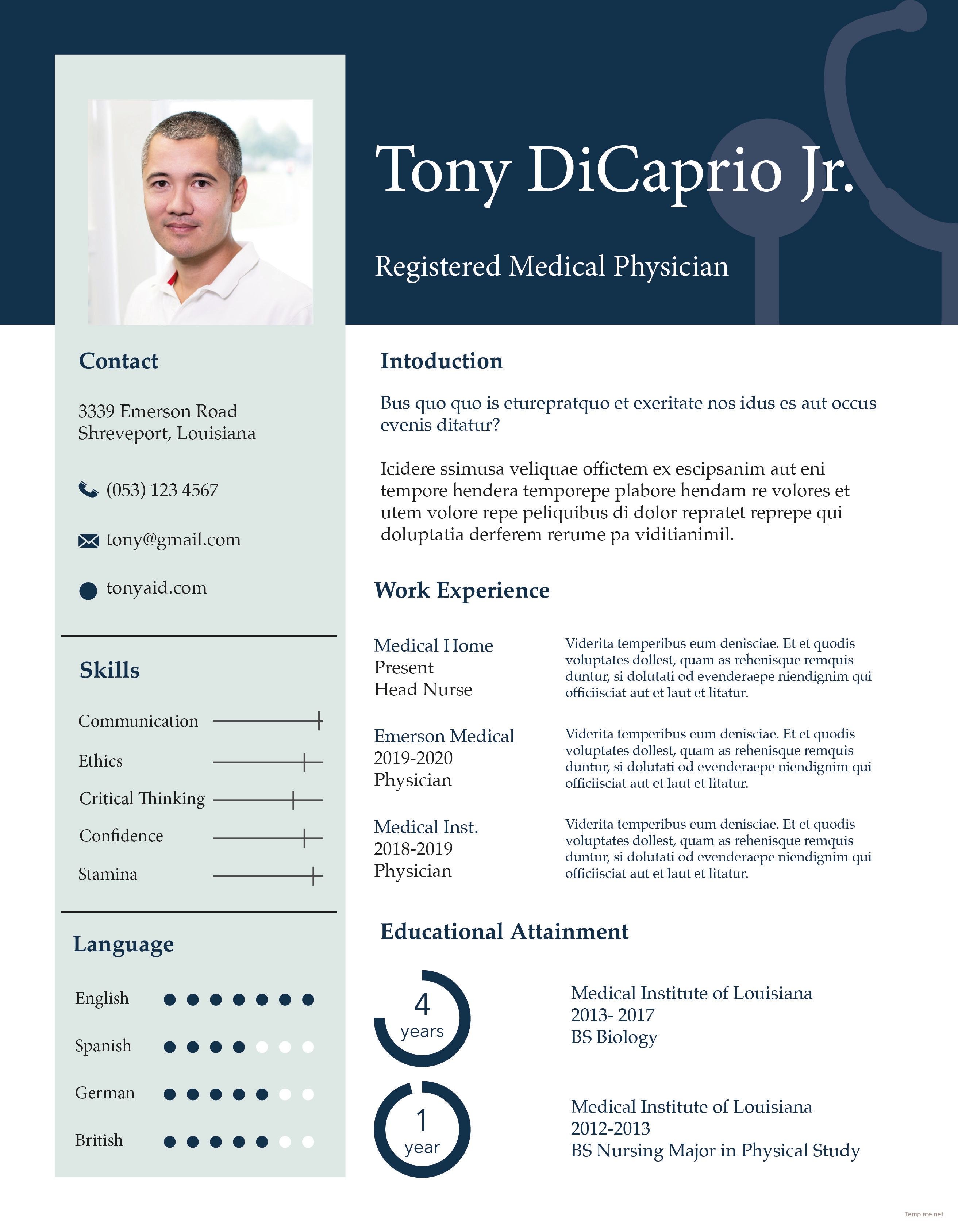 Medical student resumecv format template word psd