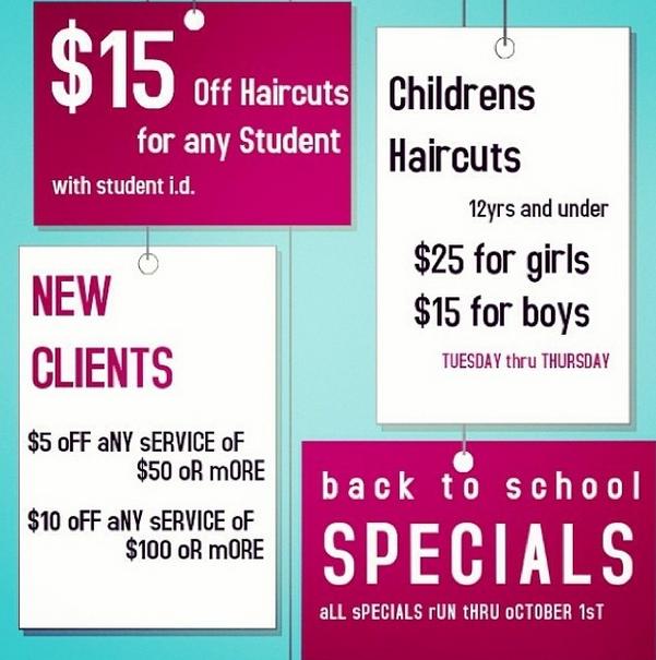 Back To School Specials At M2 Studio Salon Salon Advertising Ideas Salon Promotions Salon Marketing