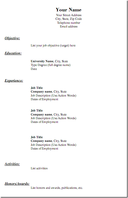 Free Blank Resume Templates Free Printable Blank Resume Forms  Httpwwwresumecareer