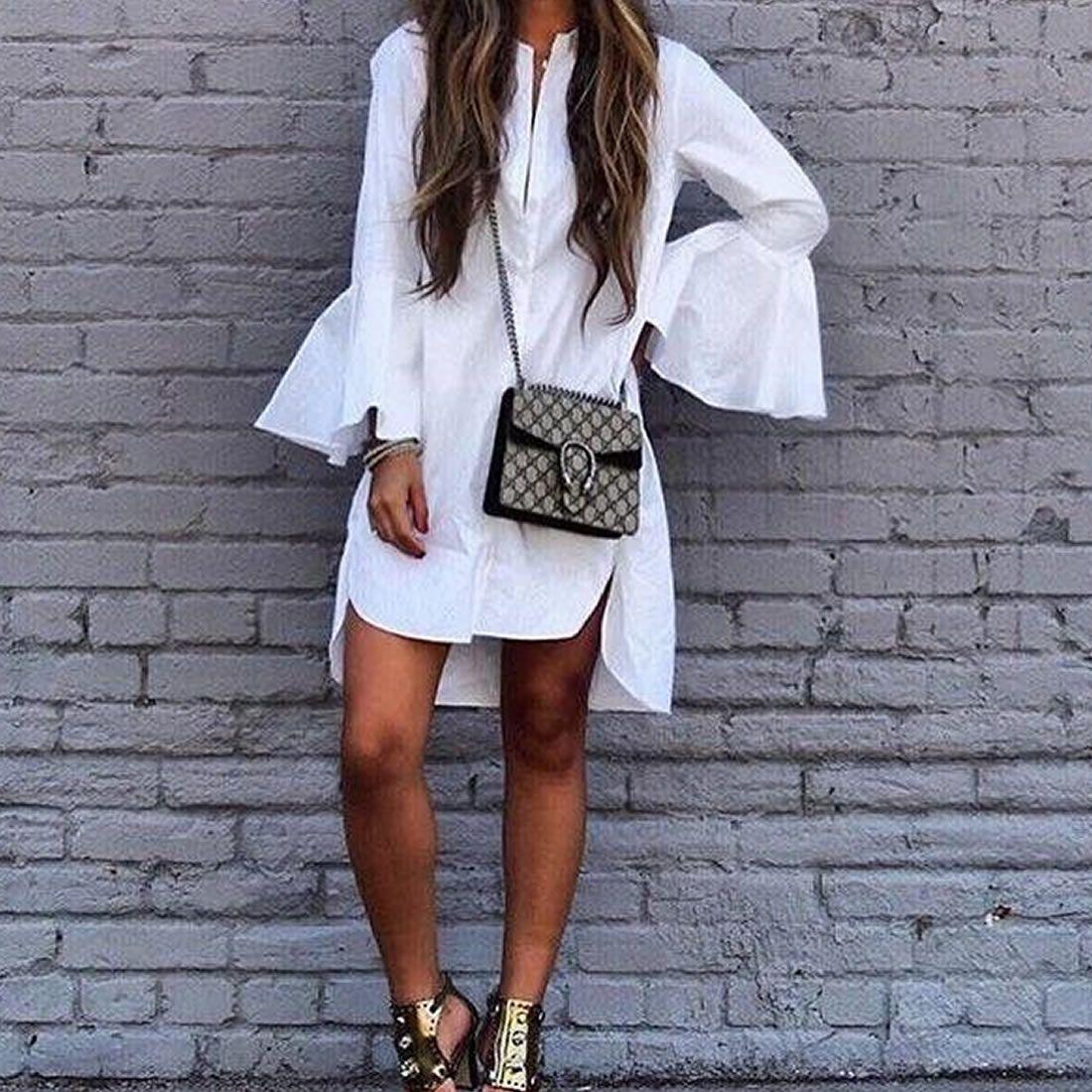 Mixed fabric u cotton onepiece dress side slit u short front long