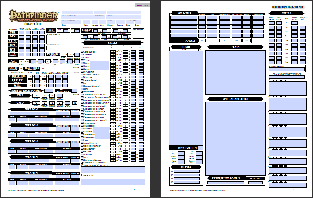 Pathfinder Character Sheet  | RPG | Character sheet