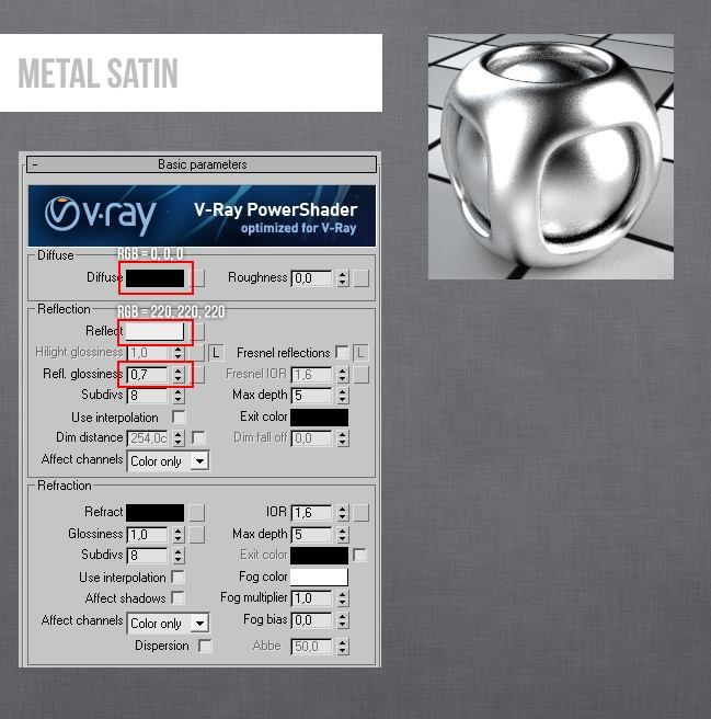 Vray 3ds Max Metal Satin | V-ray Material | 3ds max, 3ds max