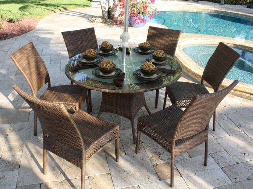 Hospitality Rattan Grenada Wicker 7 Piece Round Dining Package by Hospitality Rattan. $1598.99. Constructed of sturdy anodized aluminum. Includes tempered, frosted glass with umbrella hole (umbrella not included). All-weather and UV-resistant. Woven in durable Antique Brown or Off-White Viro resin wicker. Non-marking feet prevent floor damage. The Grenada 7 Piece Round Dining Package from Hospitality Rattan features a round tempered, frosted glass dining table with an u...