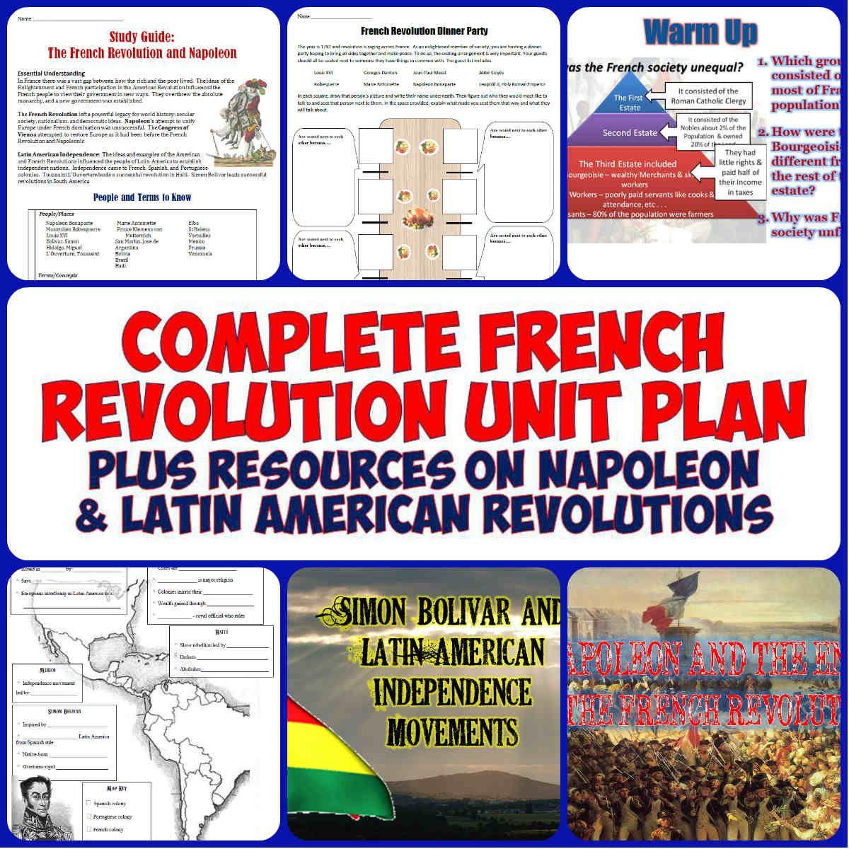 french revolution complete unit bundle american revolution napoleon and worksheets. Black Bedroom Furniture Sets. Home Design Ideas