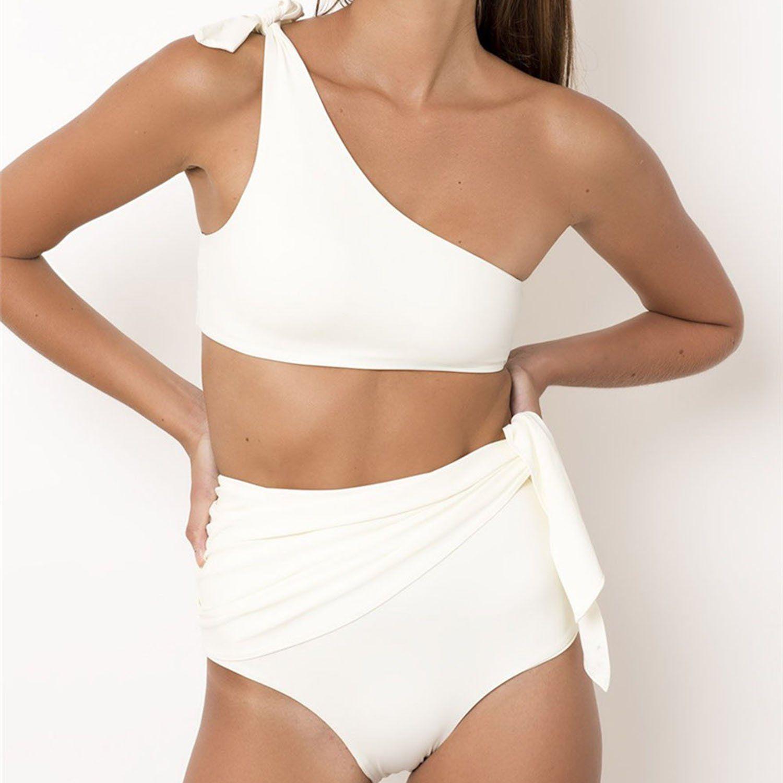 6d55fe936e0cb white one shoulder bikini set high waisted swim bottom side ties. Free  Shipping&10% OFF