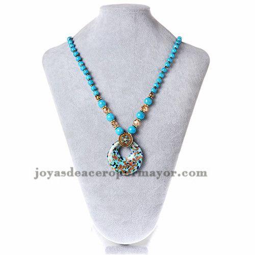 8a55b98b84ec collar de bola azul con dije criculo diseno especial moda para mujer  -ACNEG50057