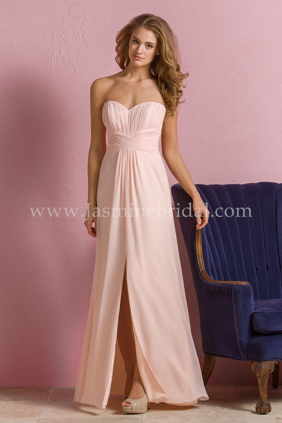 Jasmine bridal bridesmaid dress b2 style b173056 in dreamsicle fabric poly chiffon detail description fun and flirty this bridesmaid dress is a youthful and chic option made from poly chiffon this dress features a ombrellifo Choice Image