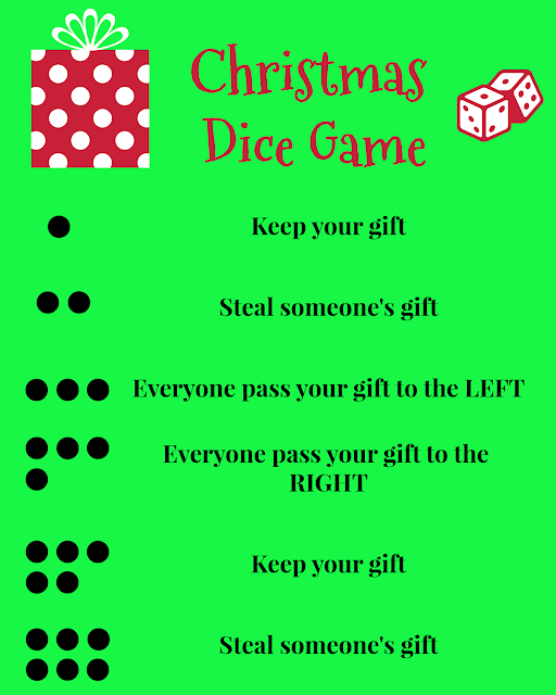 Christmas Dice Game (rules and printable sign)