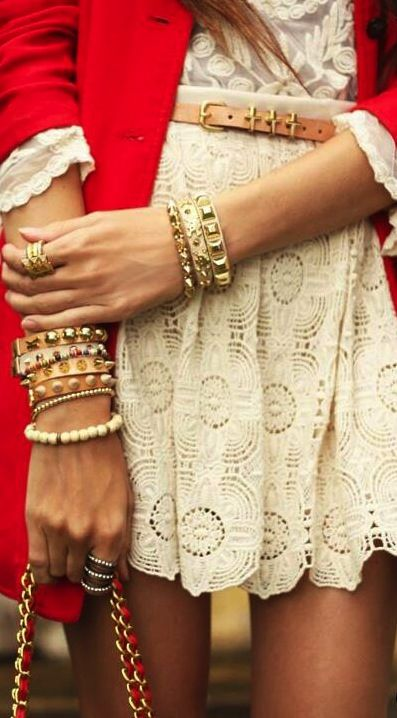 Lace nude dress with red jacket and lots of bracelets #lace #streetstyle
