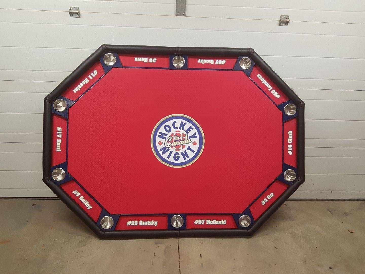 Poker Table Custom Built 8 Or 10 Man Sizing Table Top Fabric Vinyl Logo Cup Holders Chip Tray Personalized Pokertable Pedestal L Poker Table Custom Build Poker