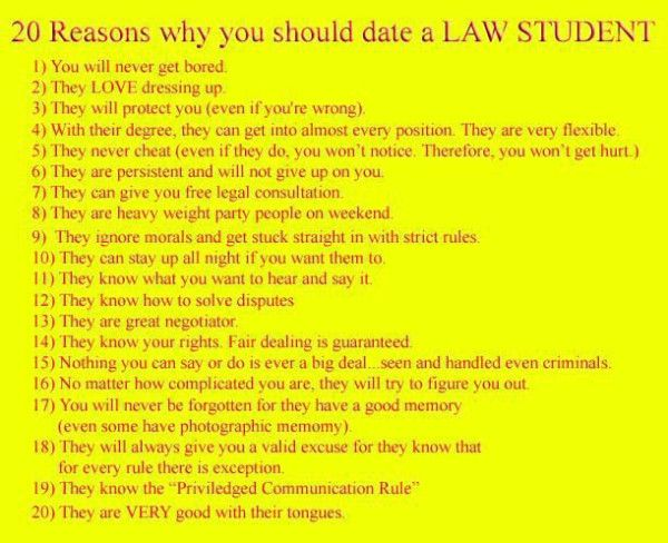 Dating a 1l law student