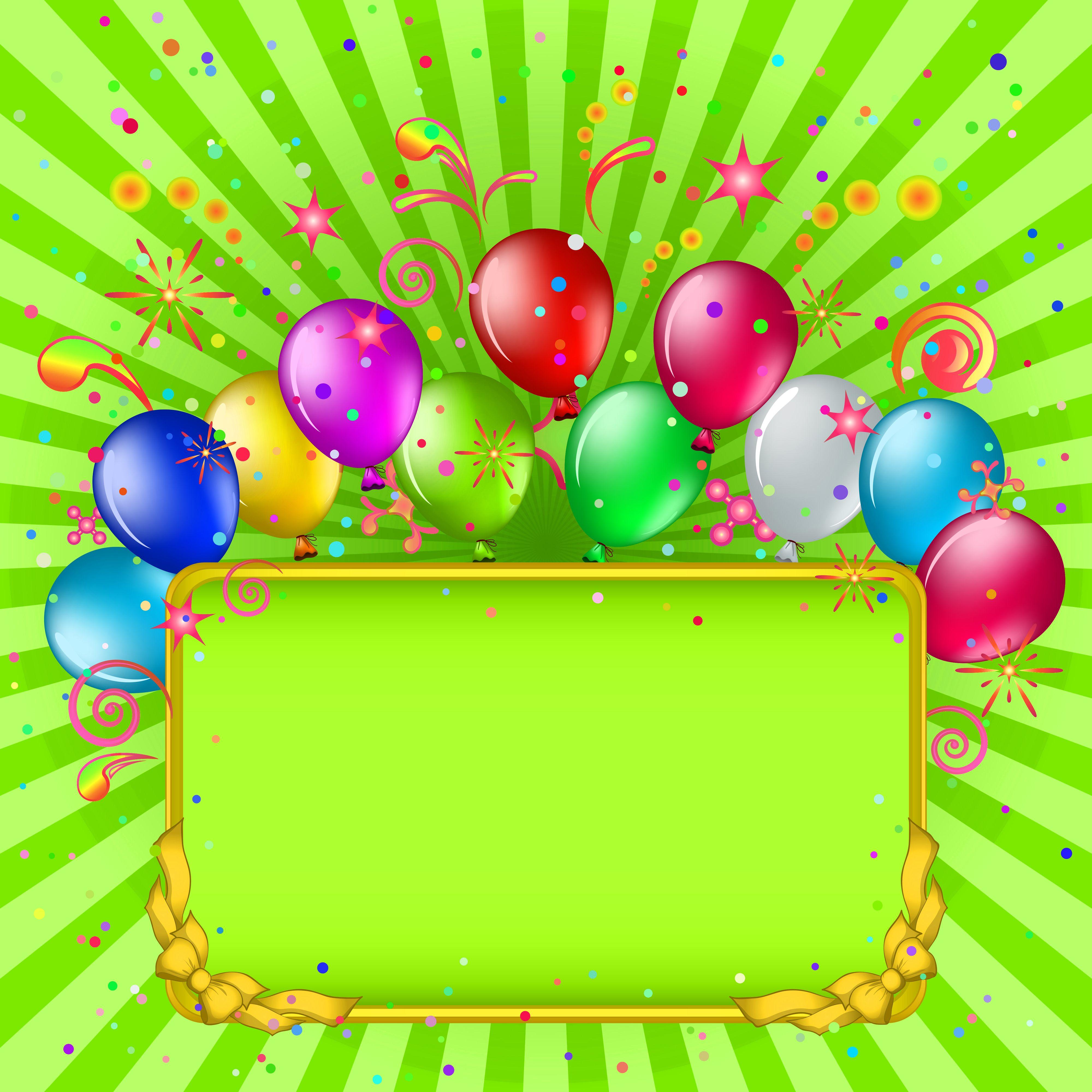 Green Birthday Background With Balloons Birthday Banner Design