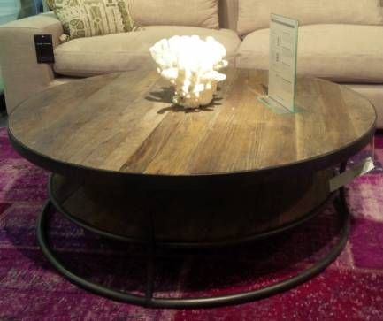 Lisbon Two Tier Round Reclaimed Wood Coffee Table With