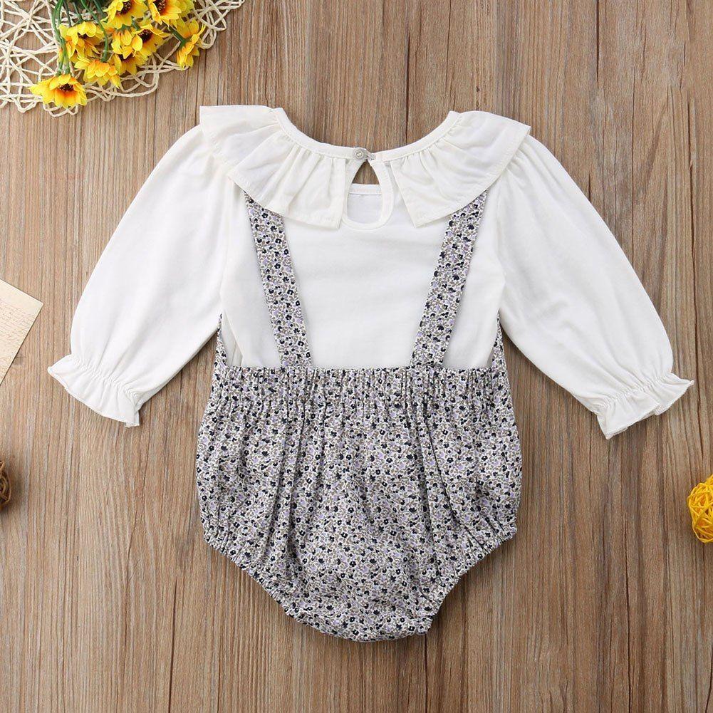 1ab964414393 Mono del bebé recién nacido niñas Floral Ruffle trajes ropa infantil ...