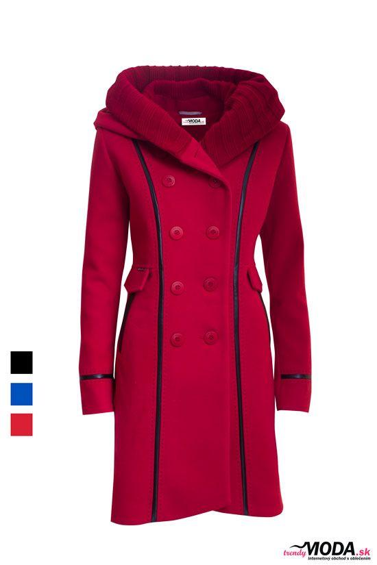 Červený zimný dámsky kabát s dvojradovým zapínaním - trendymoda.sk ... 94e648d95fe