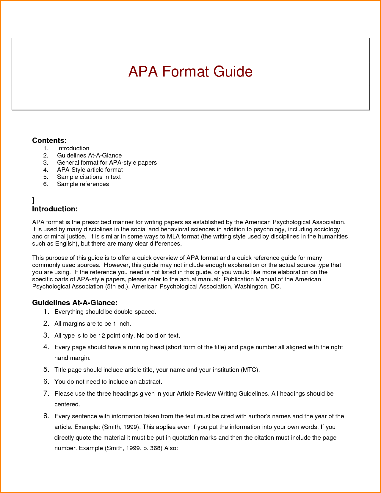 what is apa writing style example