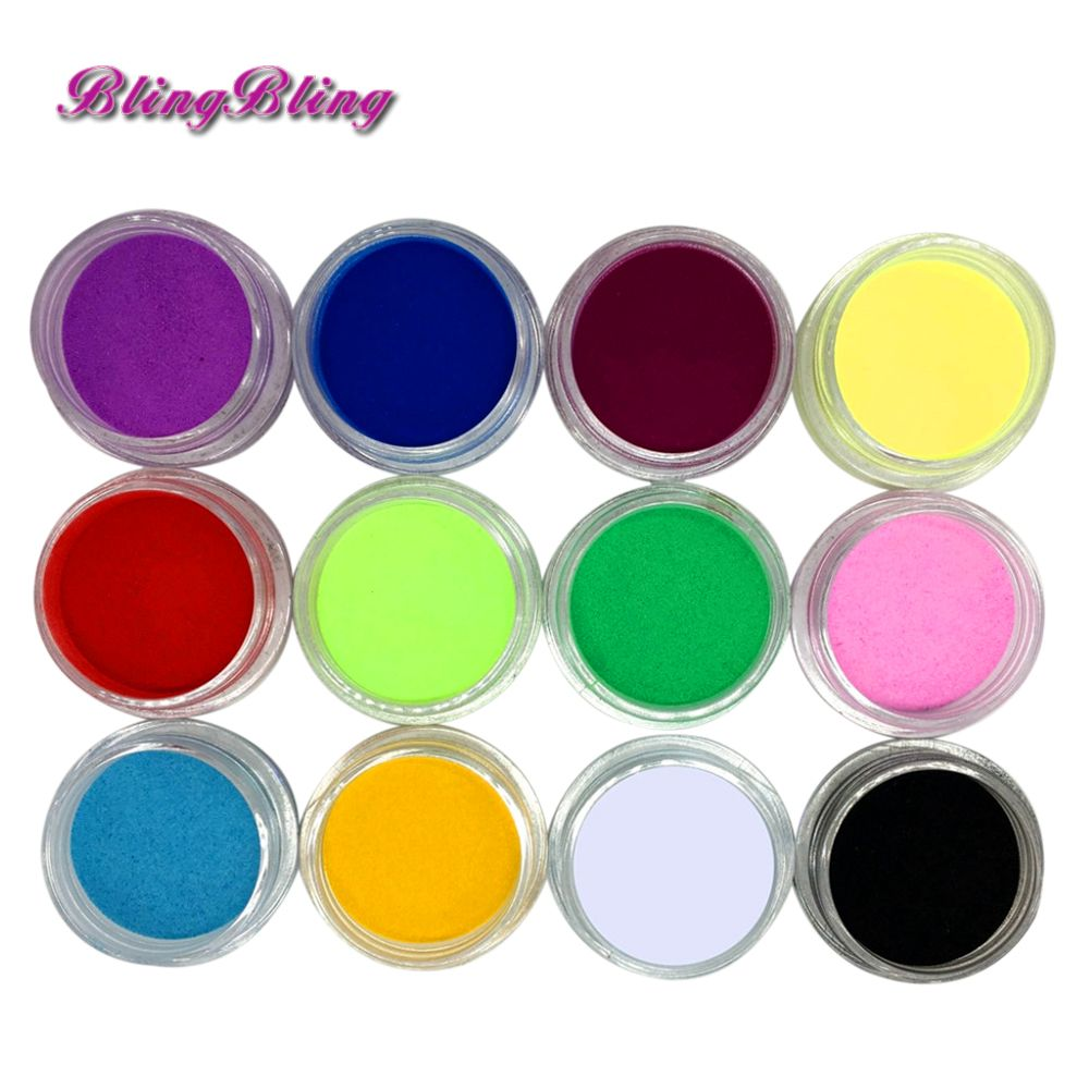 12 Unids Acrílico Polvo Nail Art Mix Colores de Acrílico Del Polvo ...