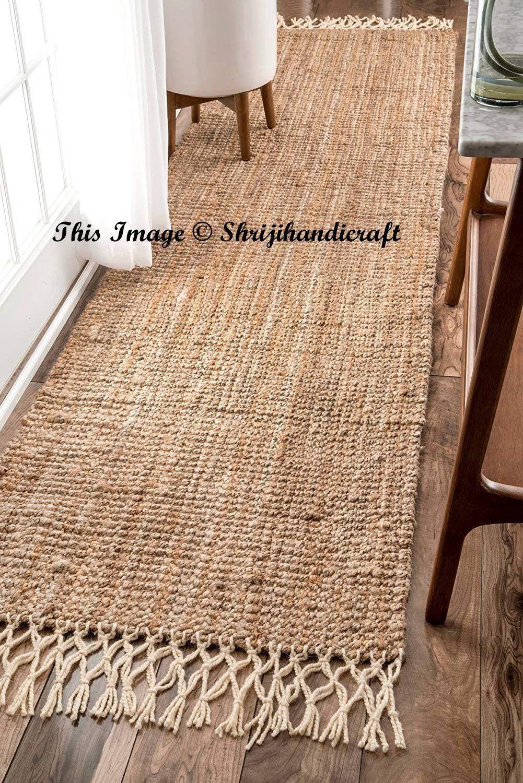 2x2 Feet Rectangle Area Rag Natural Loop Jute Rag Rug Woven Fabric Floor Rug