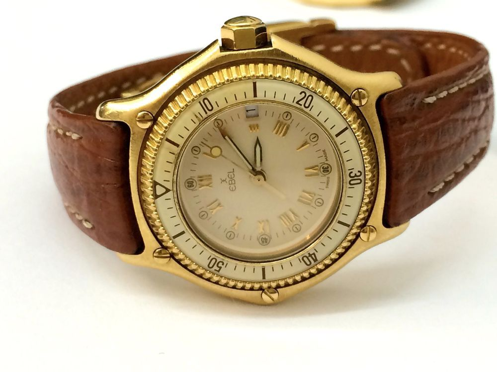 Rare Vintage Ebel 18k Gold Discovery Divers Leather Ladies Watch Womens Watches Leather 18k Gold