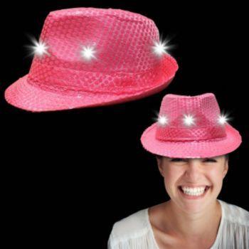 4444817a9 Neon Pink Light Up Sequin Fedora | Festivals | Pink sequin, Light ...
