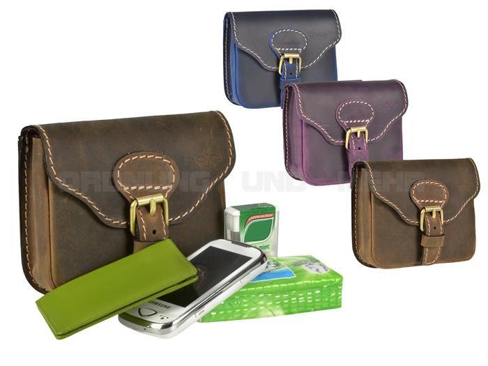 PAUL HAJN - Pull-Up Leder Gürteltasche Hüfttasche Hipbag Bauchtasche - blau, lila oder braun 007