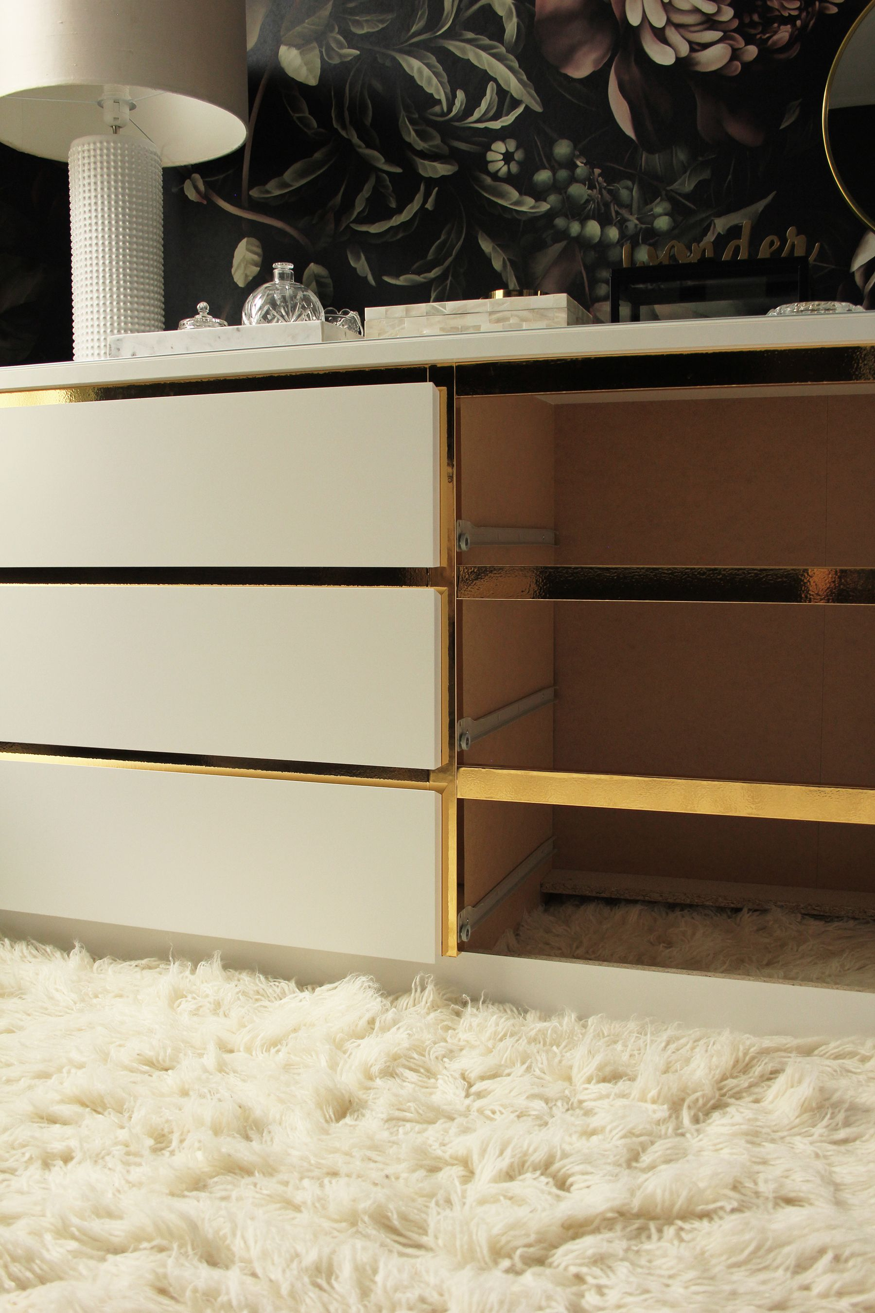 preciously me blog diy ikea hack customize and glamorize a malm dresser with gold contact. Black Bedroom Furniture Sets. Home Design Ideas
