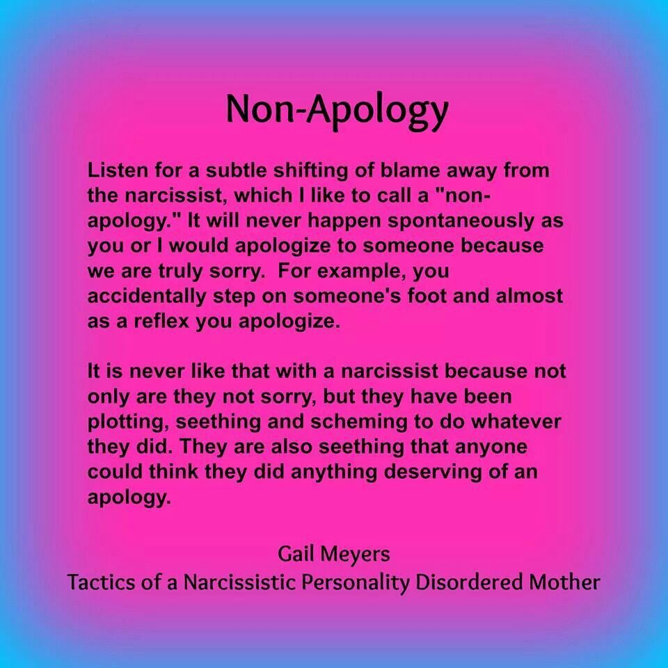 Non Apology Narcissist