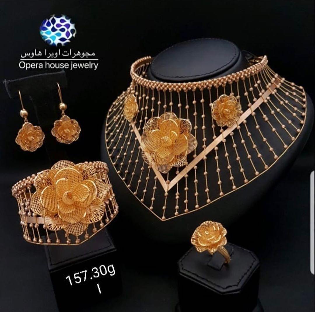Opera House Jewellery طقم فخم و مميز ذهب عيار 21 من مجوهرات أوبرا هاوس للطلب والاستفسار عن الاسعار ال Choker Designs Bridal Collection Jewelry