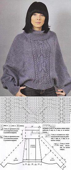 вязание спицами пончопелерины вязание пончо свитер