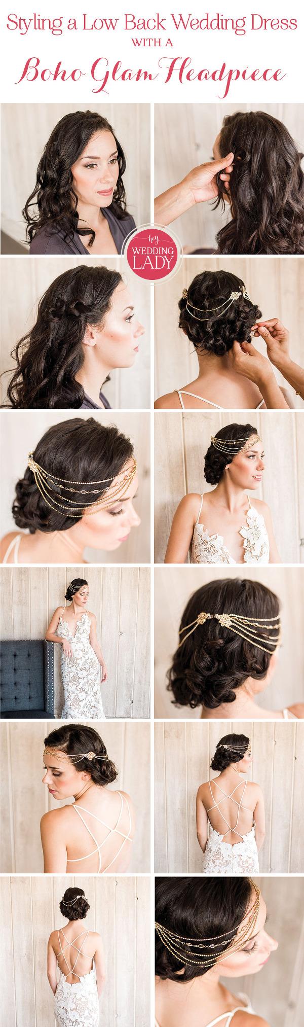 Styling a low back wedding dress with a boho glam headpiece