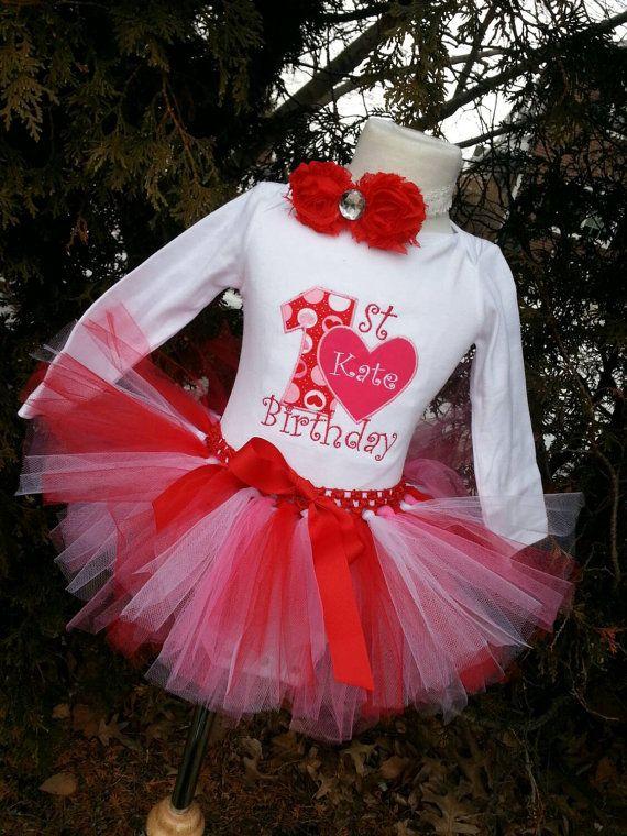 Girls My First Birthday Valentineu0027s Day Red by LittleGraceBowtique - fresh birthday invitation baby girl